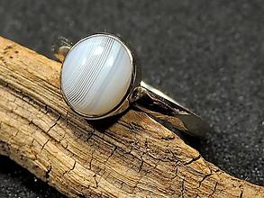 Prstene - Achátik v bielom zlate - 11444943_