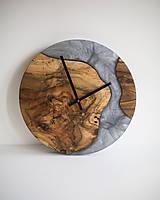 Hodiny - Živicové hodiny z teakového dreva Grey Mist - 11444496_