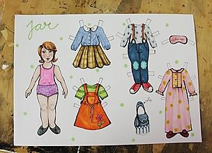 Hračky - Papierová bábika s oblečením (vystrihovačka) - 11444050_