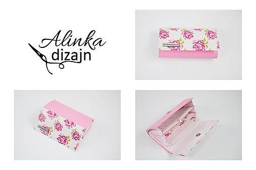 Priehradková peňaženka ružová ekokoža + pivonky