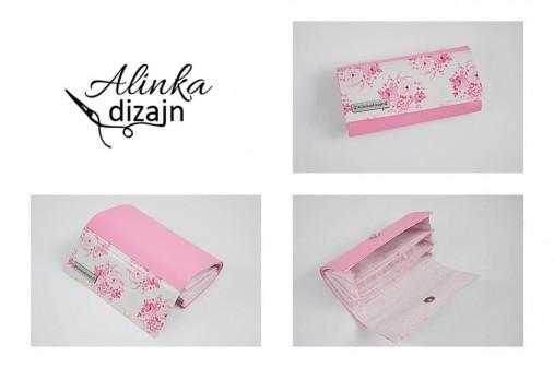 Priehradková peňaženka ružová ekokoža + ružové Tilda kvety