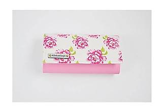 Peňaženky - Priehradková peňaženka ružová ekokoža + pivonky - 11446864_