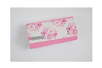 Peňaženky - Priehradková peňaženka ružová ekokoža + ružové Tilda kvety - 11446873_