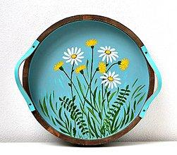 Nádoby - Maľovaná drevená tácka-Lúčne kvety - 11446213_