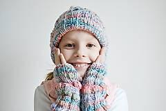 Detské doplnky - Pletené návleky na ruky - trojfarebné - 11446486_