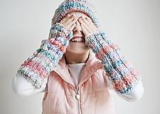 Detské doplnky - Pletené návleky na ruky - trojfarebné - 11446487_