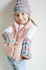 Detské doplnky - Pletené návleky na ruky - trojfarebné - 11446494_