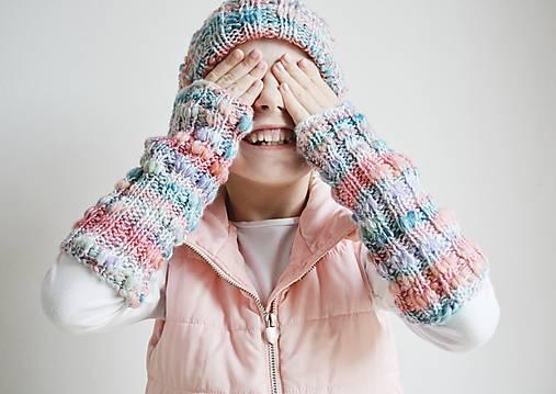 Pletené návleky na ruky - trojfarebné