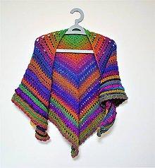 Šatky - Háčkovaný barevný šátek 2103 - 11445430_