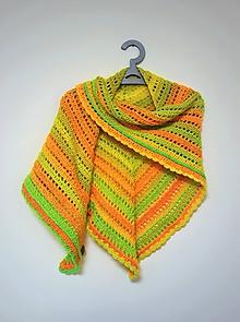 Šatky - Háčkovaný barevný šátek 2104 - 11445431_