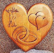 Grafika - Drevorezba Svadobné srdce - 11445929_