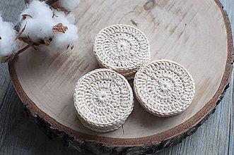 Úžitkový textil - Sada béžových háčkovaných odličovacích tampónov z biobavlny (15 ks v krabičke) - 11445402_
