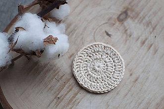 Úžitkový textil - ZERO WASTE béžový háčkovaný odličovací tampónik z BIO bavlny - ŽIVOT bez ODPADU - 11445425_