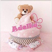 Detské doplnky - Plienková torta MACKO ružová - 11446794_