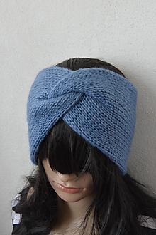 Čiapky - TWiST čelenka... alpaka & merino... modrá - 11450550_