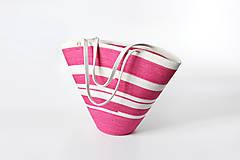 Kabelky - Kabelka růžová pruhovaná - 11450759_