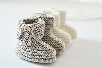 Topánočky - Papučky pre bábätko - natur - 11449718_