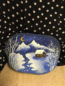 Dekorácie - Veľký maľovaný kameň - Studená noc - 11450521_
