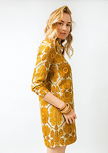 Šaty - Krátke žlté kvetované šaty - 11448563_
