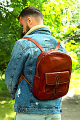 Batohy - Maurícius - kožený ruksak - 11450997_