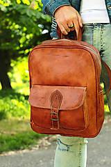 Batohy - Nepál - kožený ruksak - 11451010_