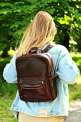 Batohy - Kamerun - kožený ruksak - 11451044_