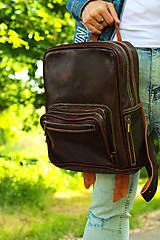 Batohy - Kamerun - kožený ruksak - 11451045_