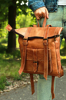 Batohy - Tanzánia - kožený ruksak - 11450989_