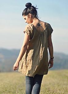 Topy - Lněný top / šaty - oříškově hnědé - 11450414_