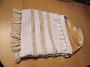 Iné tašky - Tkaná taška bielo-krémovo-sivá - 11449659_