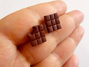 Náušnice - cokoladky napichovacky (menšie) - 11449520_