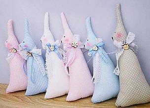 Dekorácie - Vysoké pastelové veľkonočné zajačiky - 11453858_