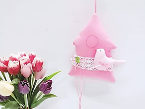 Dekorácie - Jarný pastelový domček ružový - 11453908_