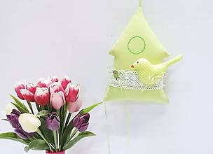 Dekorácie - Jarný pastelový domček zelený - 11453981_