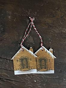Dekorácie - Ozdoba na vianočný stromček - domčeky - 11452940_