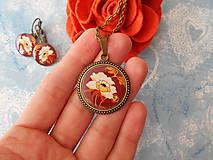 Sady šperkov - Biely kvietok v hnedej - 11451473_