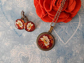 Sady šperkov - Biely kvietok v hnedej - 11451465_
