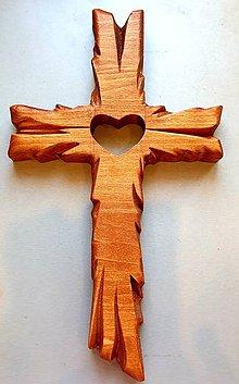 Grafika - Drevorezba Kríž srdce - 11451368_