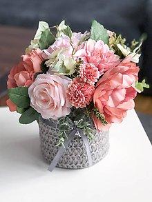 Dekorácie - Rúžová kvetinová dekorácia - 11454371_