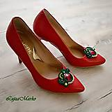 Iné šperky - Klipy na topánky (Zelená+ červená+žltá+ zlatá) - 11453018_