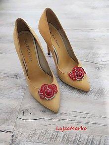 Iné šperky - Klipy na topánky (Červená+ zlatá) - 11453006_