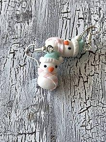 Náušnice - snehuliačik v pastelovej - 11451475_