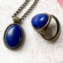 Sady šperkov - Lapis Lazuli & Bronze Set / Set šperkov s lazuritom v bronzovom prevedení (Sada prsteň + náhrdelník) - 11454889_