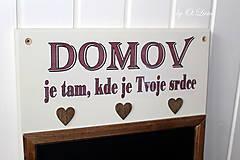 Tabuľky - Kriedová tabuľa s vešiakmi - DOMOV - 11455822_