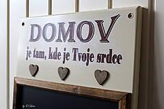 Tabuľky - Kriedová tabuľa s vešiakmi - DOMOV - 11455823_