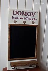 Tabuľky - Kriedová tabuľa s vešiakmi - DOMOV - 11455825_