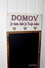 Tabuľky - Kriedová tabuľa s vešiakmi - DOMOV - 11455826_