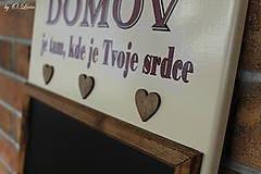 Tabuľky - Kriedová tabuľa s vešiakmi - DOMOV - 11455829_