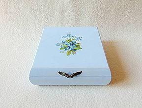 Krabičky - Drevená krabička Nezábudky - 11454779_