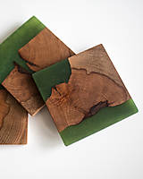 Pomôcky - Živicové podšálky z bukového dreva Green Four - 11457185_